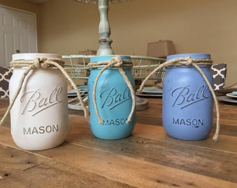 Shabby Chic Chalk Paint Mason Jars