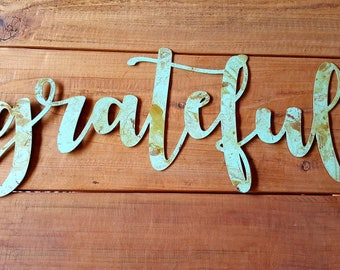 Steel Grateful Sign/Shabby chic/ Wall decor/Metal art/Farmhouse