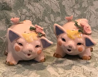 Adorned Pigs Salt and Pepper Shakers