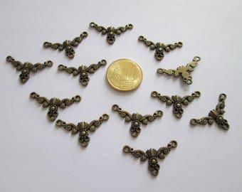 lot de 12 connecteur baroque en métal couleur bronze 27 X 16 mm