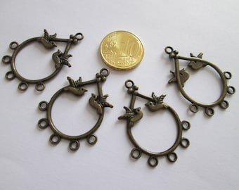 lot de 4 connecteur oiseaux en métal couleur bronze 37 X 27 mm