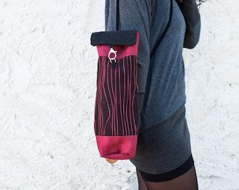 Bag-Shoulder Bag-red-accessories-case-wood-print design-Miscellany-handmade-clasp closure-fabric-cotton-alcantara