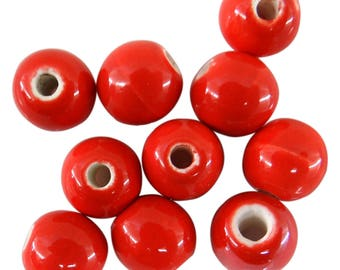10 pearls 8 mm color red pc048 ceramics