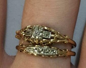 vintage 1920s art deco wedding ring set - 1920s Wedding Rings