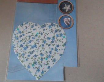 fusible applique 1 x heart shaped flowers liberty blue white cotton 10.5 x 9.5 cm