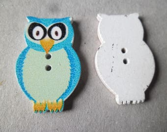 6 x 3.2 x 2 cm/OWL blue, light blue with 2 holes wood buttons