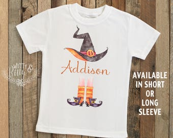 Halloween Witch Personalized Kids Shirt, Halloween Kids Shirt, Personalized Kids Shirt, Boho Kids Tee, Witch Hat Tee - T266A