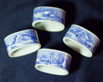 Antique Currier & Ives Napkin Rings with Winter Scenes