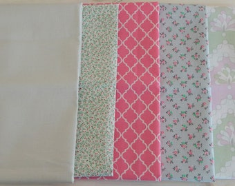 Fat Quarter Bundle, Quilting fabric, Pink fabric, Gray fabric, Floral fabric