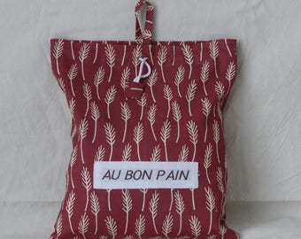 "embroidered ""good bread"" bread bag with printed cotton fabric DrawString"