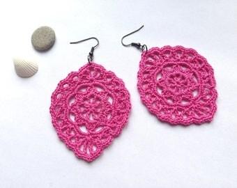 Color pink crochet earrings