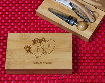 Engraved Wine opener set, Personalized Cork screw Set, Custom Engraved Wine Opener set, Wine Party Favor, Christmas Gift