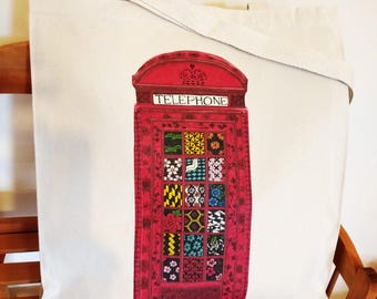Red telephone booth design canvas tote bag 10oz