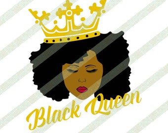 Black Queen With Crown SVG PNG Black Woman Natural Hair Afro Ethnic African American Digital Download Art