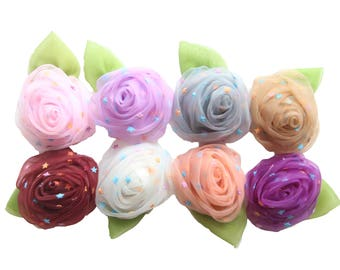 Lucia Collection, Rolled Tulle Rose Flower with Leaf,  Little Star Dots, Chiffion Rose Flowers, DIY Baby Girl Headbands, Craft Supplies