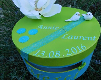 Urn wedding, christening or birthday lime green and turquoise