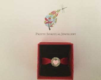 Pretty Spiritual Jewellery Silver and pink heart charm bead