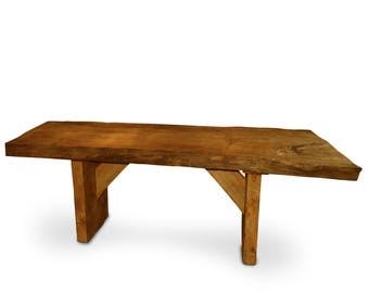 Rustic Hand-Crafted Solid Wood Table