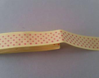 Ribbon Grosgrain - yellow star flowers pink - 15 mm