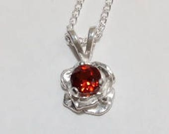 4mm round red garnet 925 sterling silver rose pendant necklace