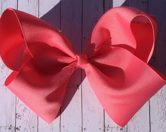 Large JoJo Style Hair Bow - Pink Coral