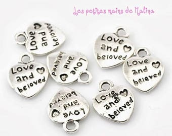 "10.Breloques heart pendant ""Love and belove"""