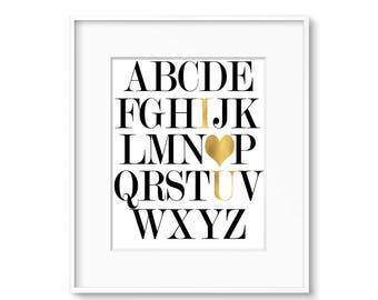 Alphabet ABC Wall Art Print - Gold I love you-  DIGITAL DOWNLOAD
