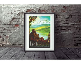 Earth Poster by NASA  Poster no FRAME  included  (Next day FREE Shipping within the usa )