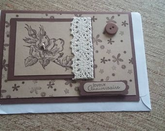 Brown card vintage style with rose