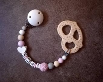"Pacifier Necklace ""Pretzel"" in pink with wish name < 3/baby/bite pendant/Geburt/baptism/Gift"