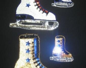 Ice Skates, Figure Skates, Sequin Ice Skates, Sequin Applique Skates, Skates