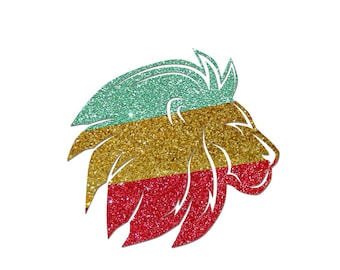 10 cm in flex fusible glittery Rasta Lion head motif