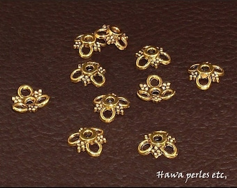 """10 cups Ice Caps """"Flower"""" 10 x 10 mm Antique gold metal"""
