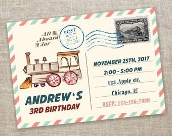 Train Invitation, Train Invitations, Chugga Chugga Two Two, Train Birthday, All Aboard Birthday Theme, Vintage Train Invites