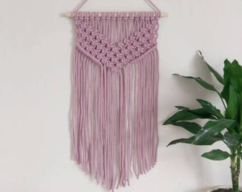 Chunky macrame wall hanging in dusty pink