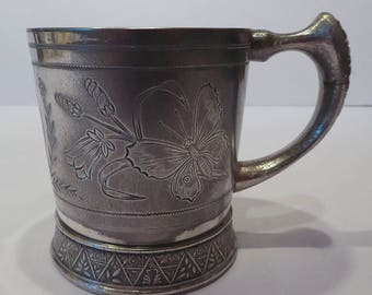 Antique Meriden Britannia Company Small Silver Plated Tankard, Engraved Butterfly Pattern, 19th Century Silver Plate, Made in USA