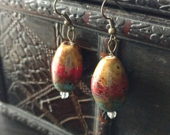 Muti colored ceramic bead earrings