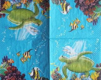 PAPER TOWEL 25x25cm dolphin, turtle and fish #AN028P
