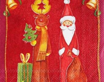 PAPER TOWEL Santa Claus and reindeer #DI023P 25x25cm