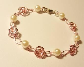 Beautiful pink rose bracelet