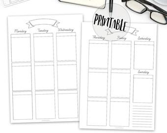 Printable Weekly planner A5 insert PDF, Vertical Weekly Planner Printable, planner insert, filofax A5, kikki k large, bullet, download