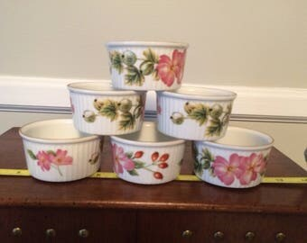 Complete Set of  Vintage Royal Worcester Porcelain Set of 6 Pershore Ramekins Oven to Table Ware