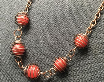 Copper Springs & Red Beads Necklace // Gifts for Her // Holiday Present