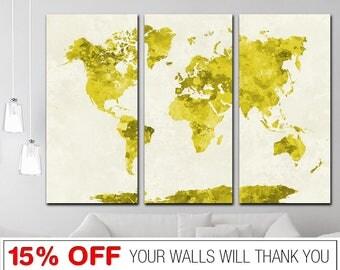 Yellow world map etsy uk yellow world map world map abstract world map word map canvas world gumiabroncs Image collections