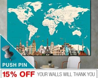 PushPin World Map, Word Map Canvas, Push Pin World Map, World Map Wall Art, World Map Push Pin, World Map Print, World Map, Map Canvas