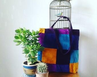 Vintage handmade velvet patchwork oversized tote bag
