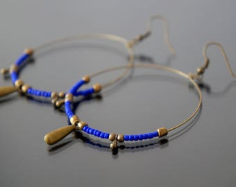Hoop earrings minimalist bronze indigo blue