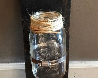 Rustic Hanging Pallet Wood/Mason Jar Wall Art