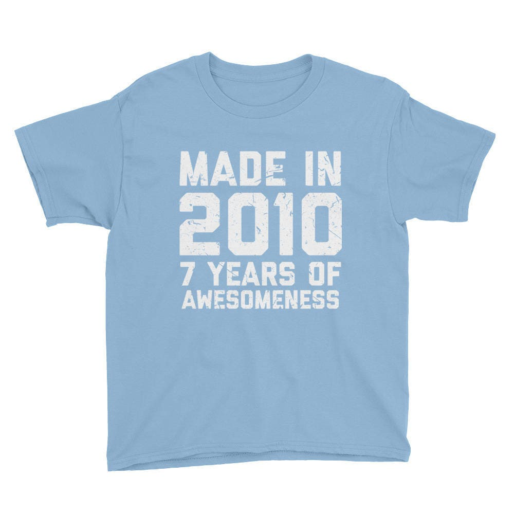 7th Birthday Shirt Gift Age 7 Year Old Boy Girl Youth Short Sleeve T
