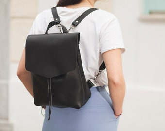 Black Leather Backpack/Black Leather Shoulder Bag/Black Leather Crossbody Bag/3IN1 Leather Bag